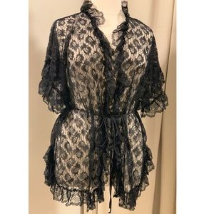 Allover Lace Robe with Ruffles & Butterfly Sleeves